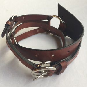 GENUINE LEATHER BROWN/SILVER TONE CIRCLES BELT